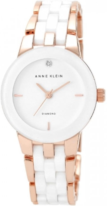 Anne Klein Rose Gold-Tone and Ceramic Ladies Watch