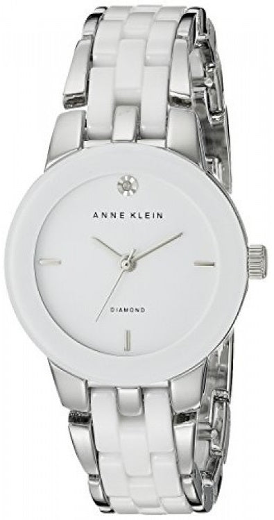 Anne Klein Silver-Tone and Ceramic Ladies Watch
