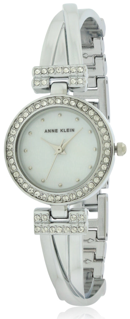 Anne Klein Silver-Tone Alloy Bangle Watch and Bracelet Set Ladies Watch