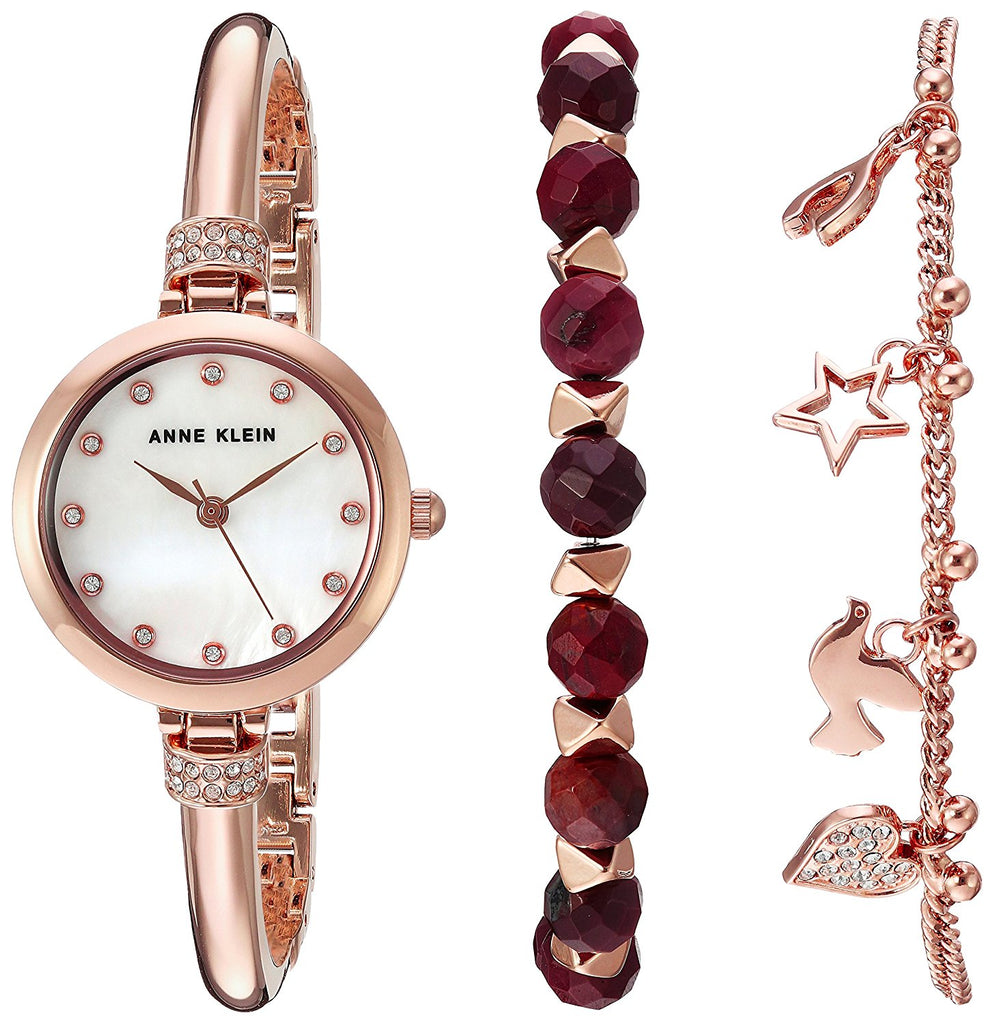 Anne Klein Beaded Bracelet Set And Rose Gold-Tone Alloy Ladies Watch