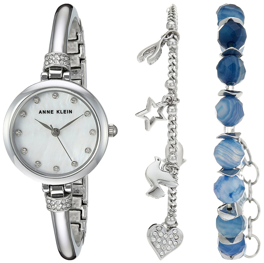 Anne Klein Beaded Bracelet Set And Silver-Tone Alloy Ladies Watch