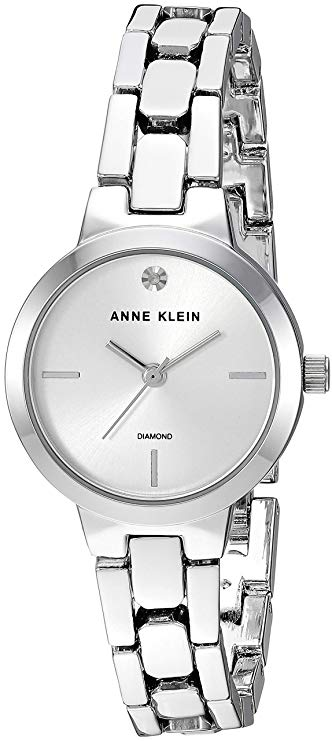 Anne Klein Diamond-Accented Silver-Tone Ladies Watch