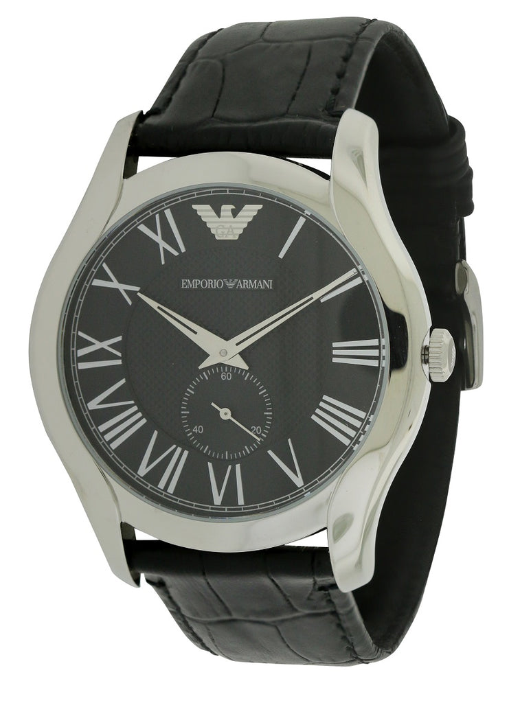 Emporio Armani Black Croco Leather Mens Watch