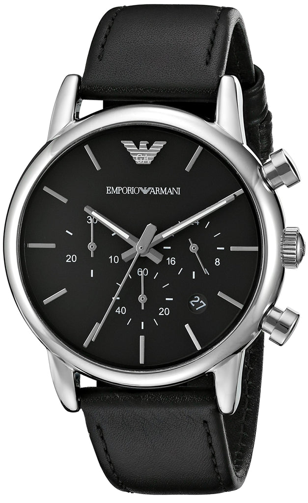 Emporio Armani Sport Black Leather Chronograph Mens Watch