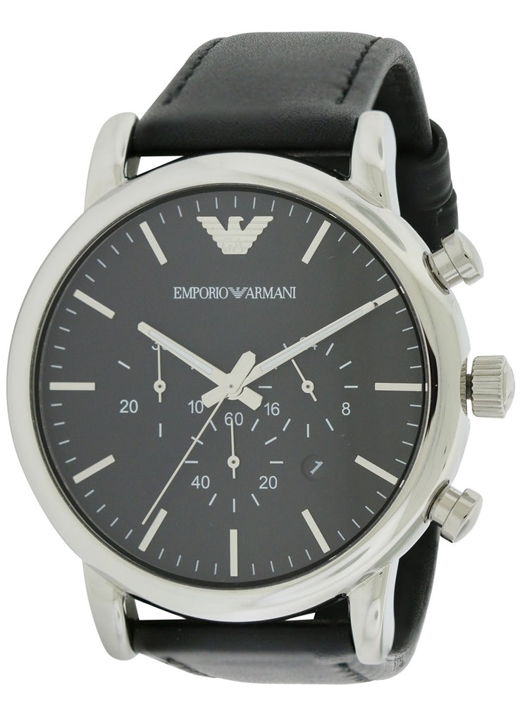 Emporio Armani Classic Leather Chronograph Mens Watch