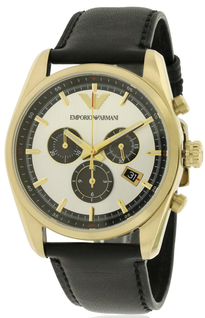 Emporio Armani Sportivo Leather Chronograph Mens Watch