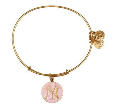 Alex and Ani Pink New York Yankees Cap Logo Charm Bangle Bracelet -