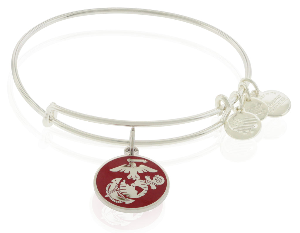 Alex and Ani U.S. Marine Corps Charm Bangle - Shiny Silver -