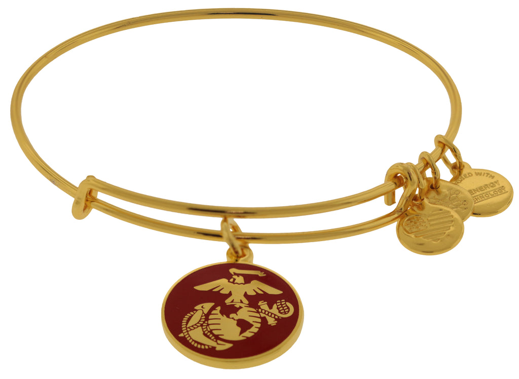 Alex and Ani U.S. Marine Corps Charm Bangle - Shiny Gold -