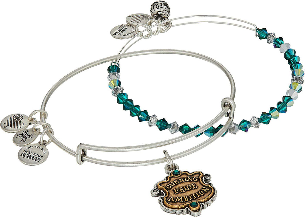 Alex And Ani Harry Potter - Slytherin Motto Set of 2 - Two Tone - RS Bracelet -