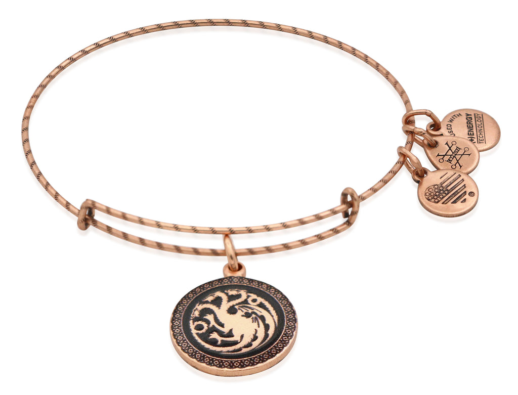 Alex and Ani GAME OF THRONES Fire and Blood Charm Bangle Bracelet - Rafaelian Rose Gold Finish
