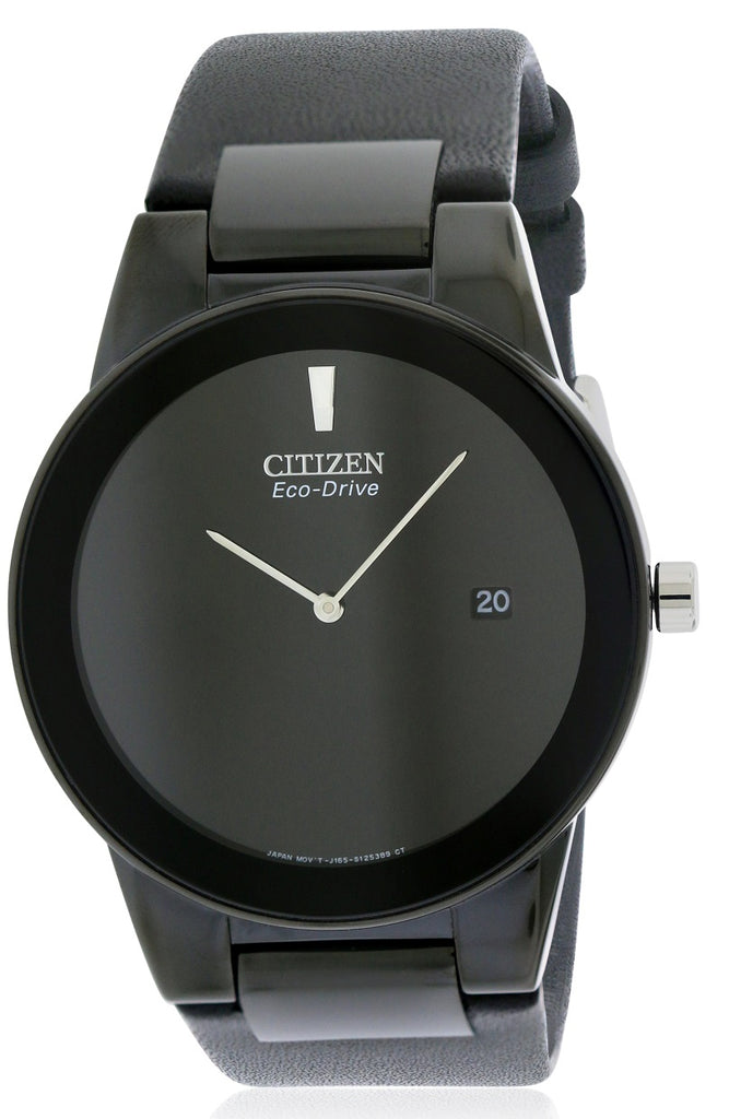 Citizen Eco-Drive Axiom Black Leather Mens Watch