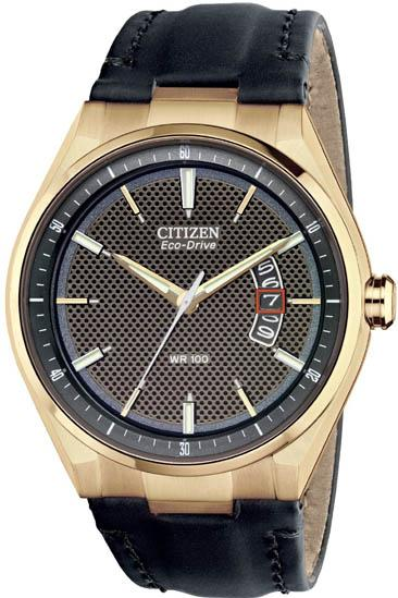 Citizen Eco-Drive Gold-Tone Leather Mens Watch AW1133-06H