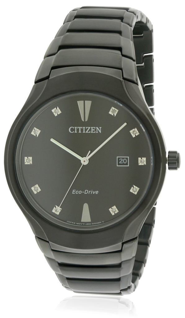 Citizen Eco-Drive Black Stainless Steel  Mens Watch