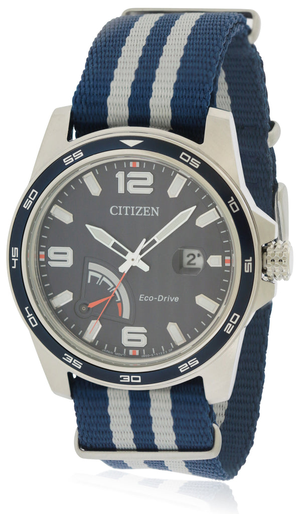 Citizen Eco-Drive Power Reserve Striped Nylon Mens Watch