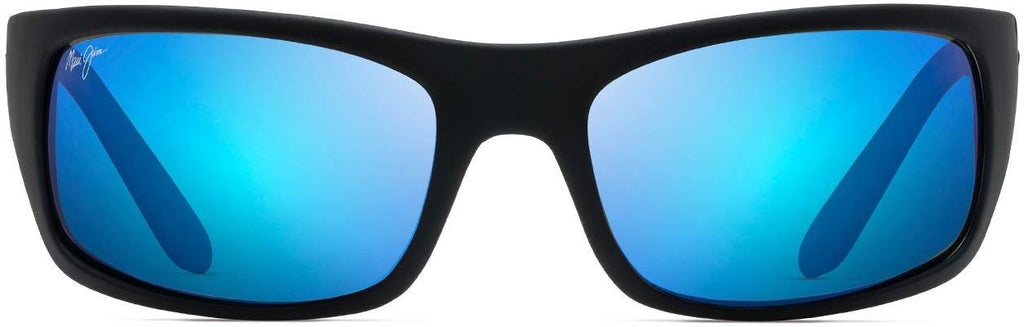 Maui Jim Peahi Wrap Sunglasses - Black Matte Rubber/Blue Hawaii Polarized - Large