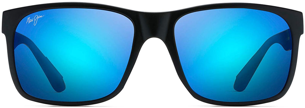 Maui Jim Red Sands Rectangular Sunglasses - Matte Black/Blue Hawaii Polarized - Medium