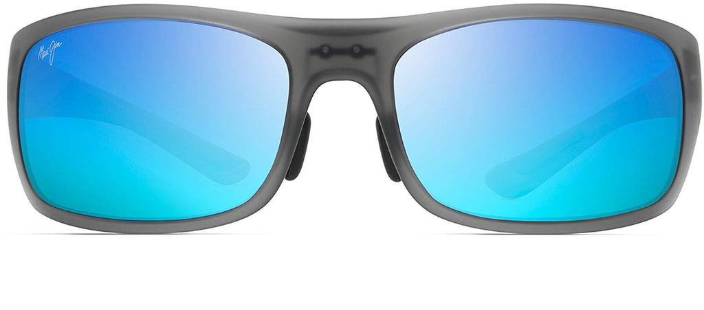 Maui Jim Big Wave Wrap Sunglasses - Translucent Matte Grey/Blue Hawaii Polarized - Extra Large