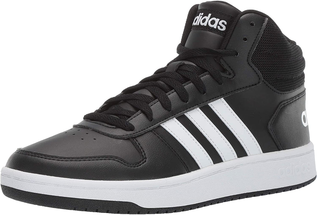 adidas Mens VS Hoops Mid 2.0 Basketball Shoe - Black/White/Black - 9