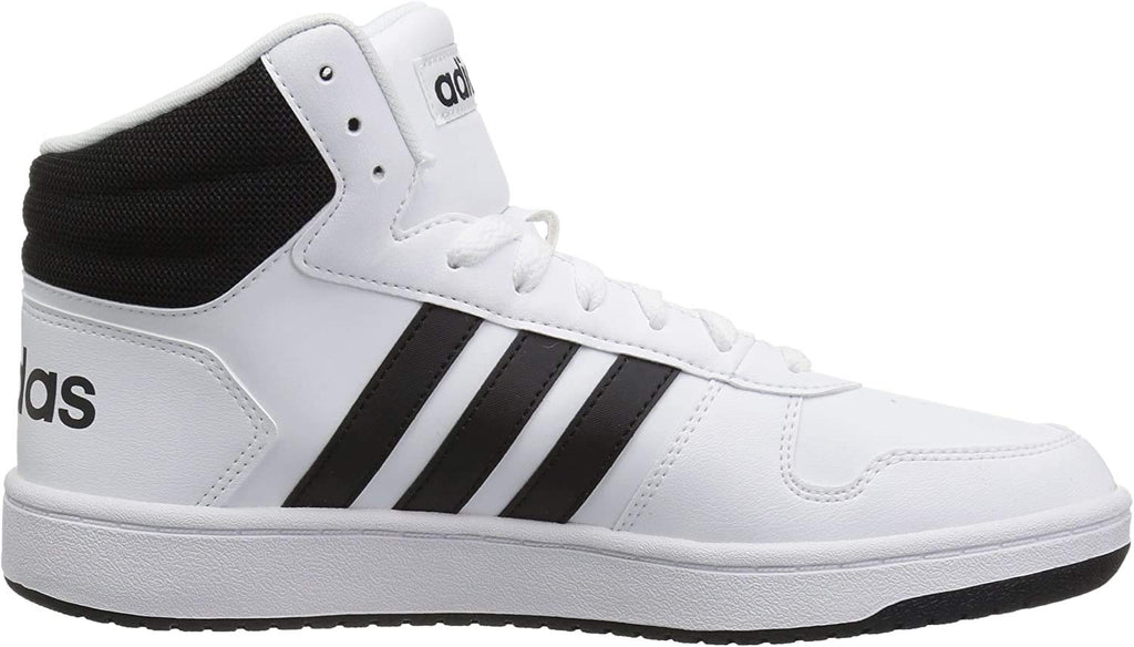 adidas Mens Hoops 2.0 Mid Basketball Shoe - white/black/black - 10