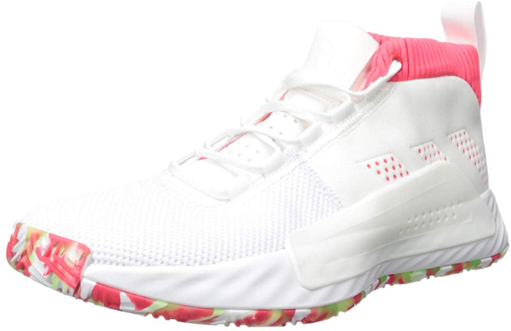 adidas Mens Dame 5 Sneaker - White/Shock red/Crystal White - Size: 12