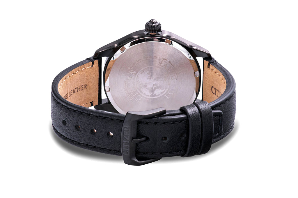 Citizen Eco-Drive Chandler Military Leather Mens Watch