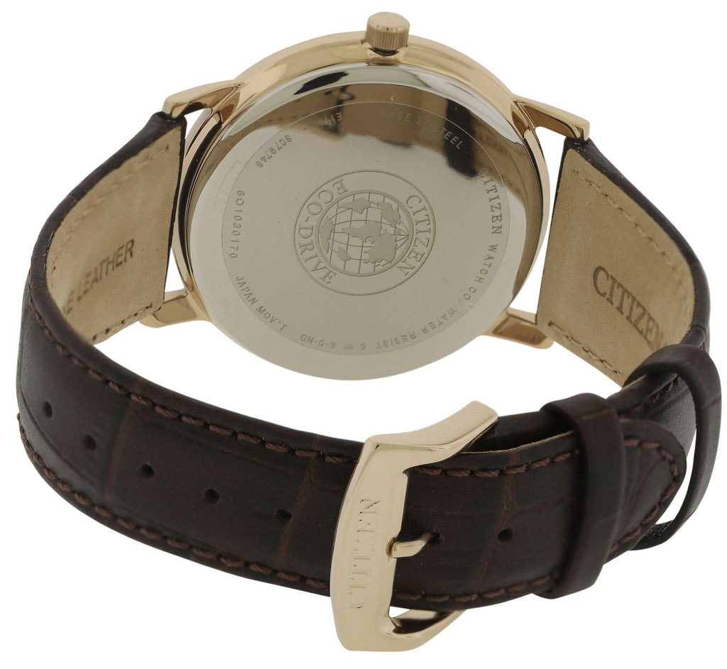 Citizen Eco-Drive Rose Gold-Tone Leather Mens Watch