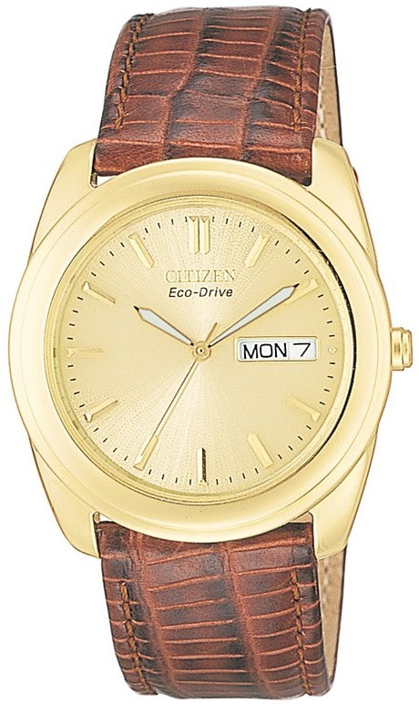 Citizen Eco Drive Brown Leather Mens Watch