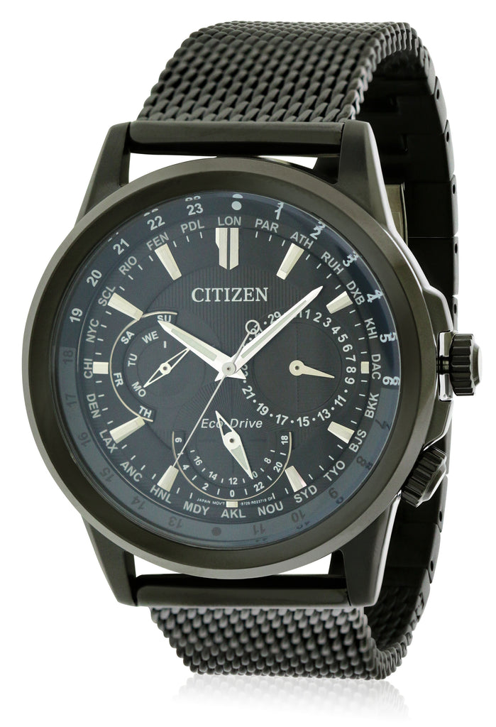 Citizen Eco-Drive Calendrier World Time Black Mens Watch