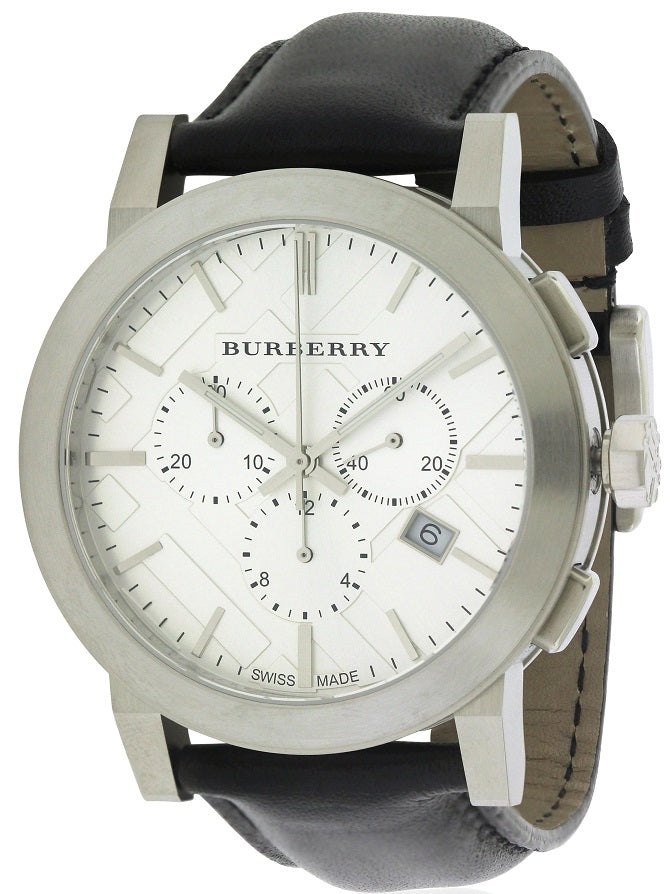 Burberry Leather Chronograph Mens Watch
