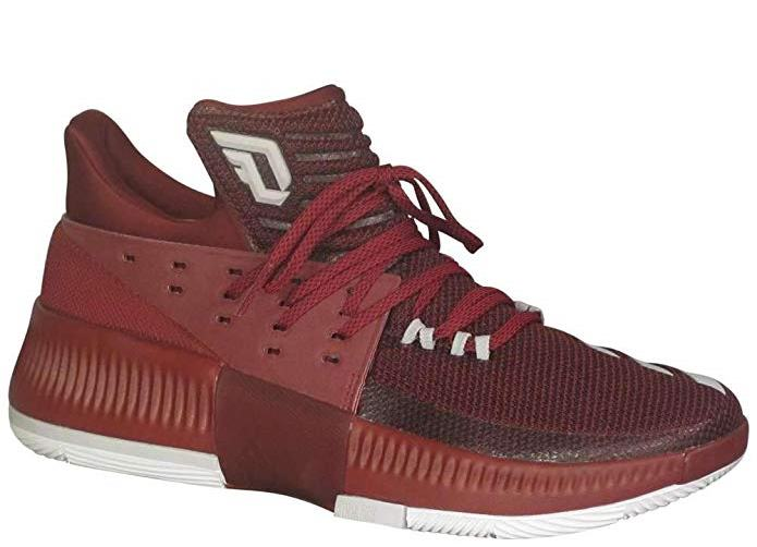 adidas Mens Dame 3 Basketball Shoe Sneaker - Maroon-White - Size 12