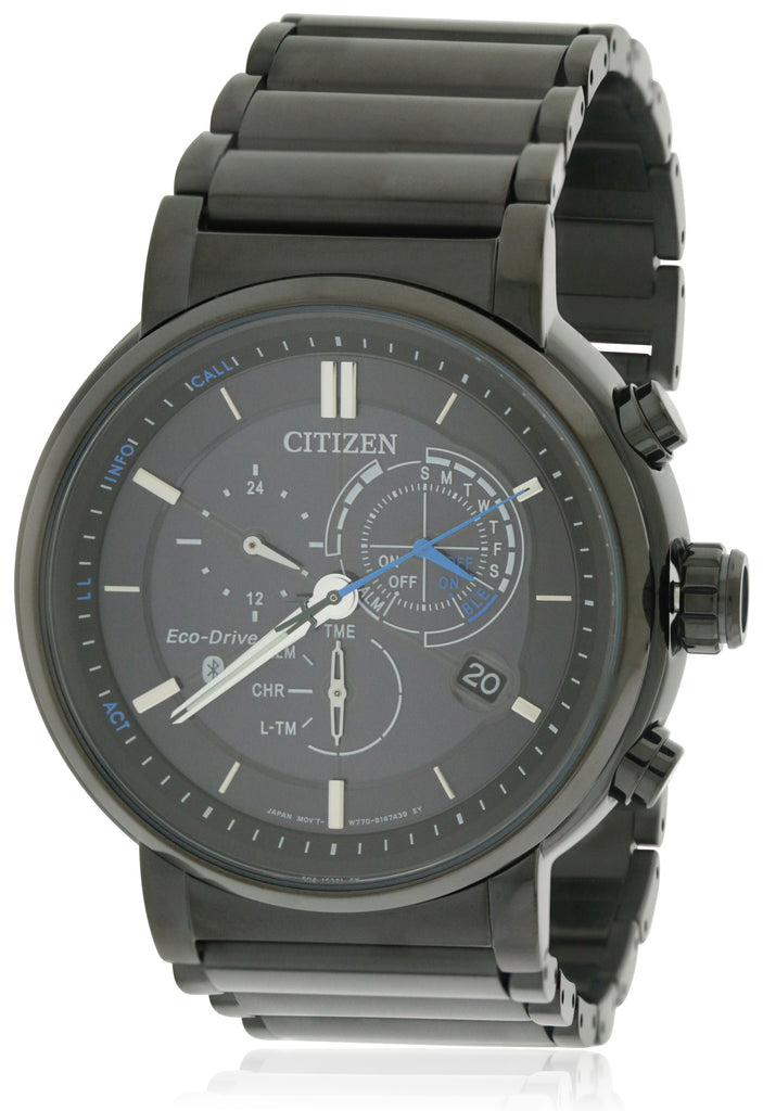Citizen Eco-Drive Proximity Perpetual Black Chronograph Mens Watch