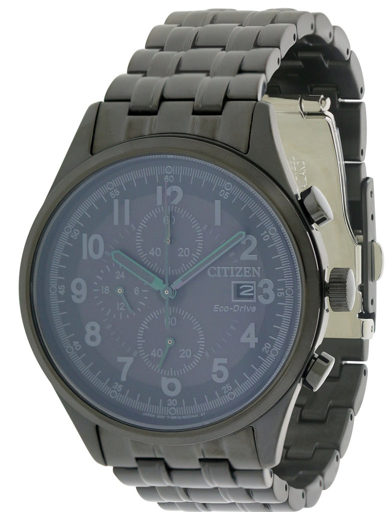 Citizen Eco-Drive Chandler Black Stainless Steel Chronograph Mens Watch