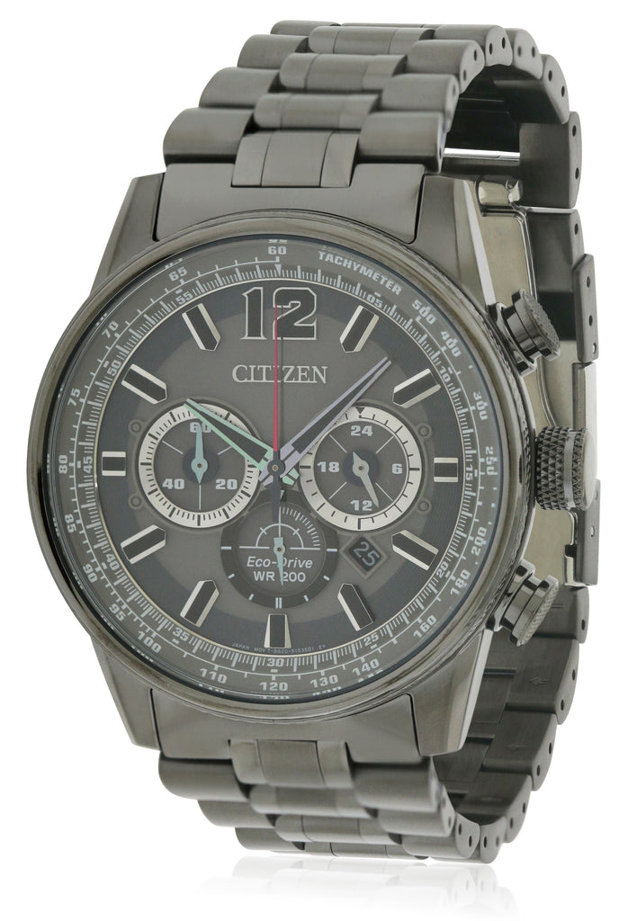 Citizen Eco-Drive Black Stainless Steel Chronograph Mens Watch