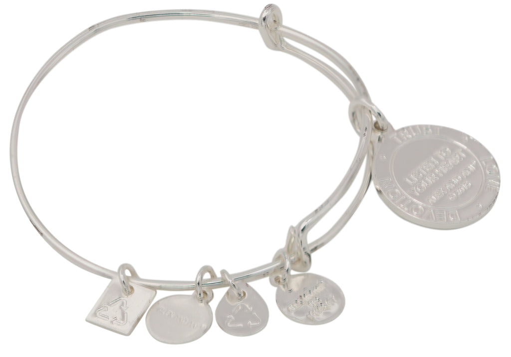 Alex and Ani Shiny Silver Finish Listen to Your Heart Charm Bangle -