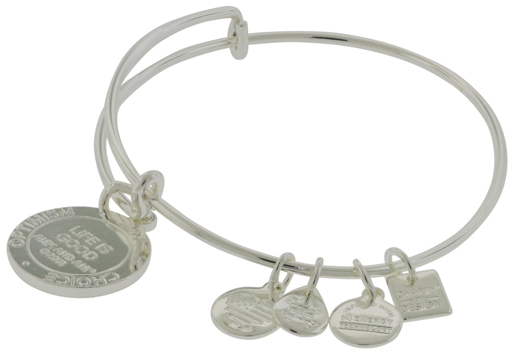 Alex and Ani Shiny Silver Finish Life is Good Charm Bangle -