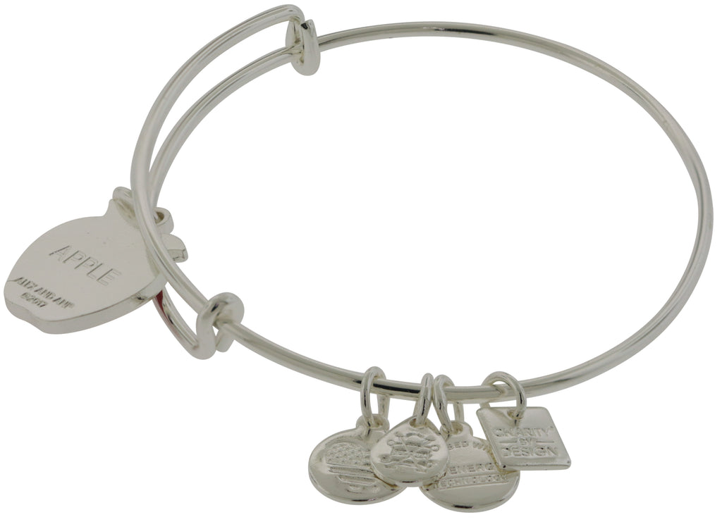 Alex and Ani Apple Charm Bangle - Blessings in a Backpack - Shiny Silver -