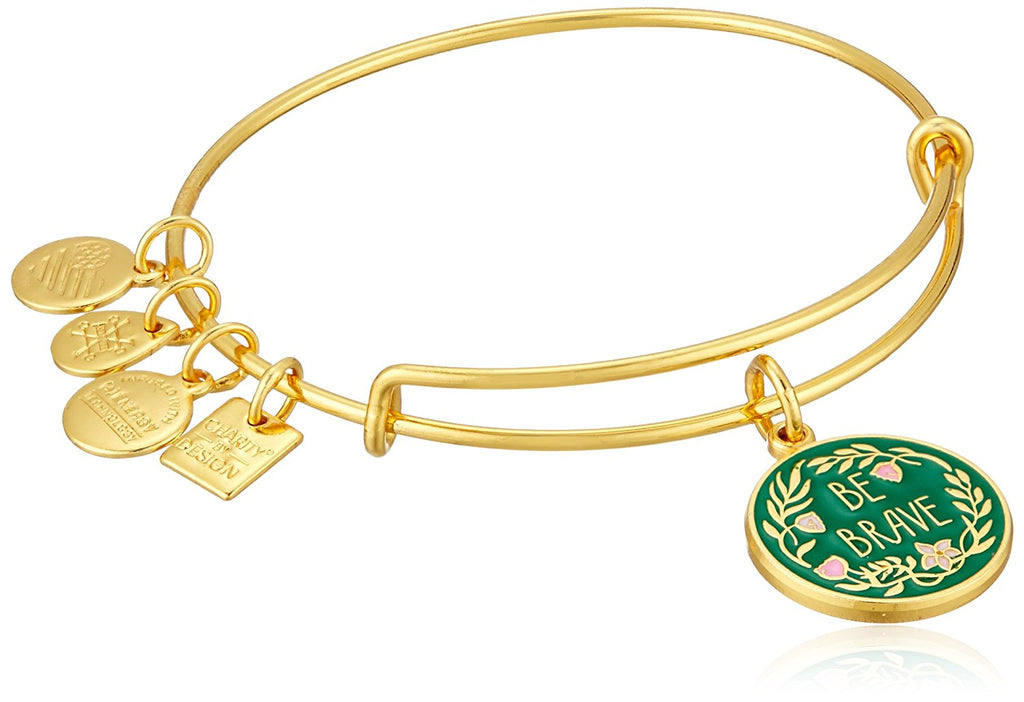 Alex and Ani Charity By Design Be Brave EWB Shiny Gold Bangle Bracelet -