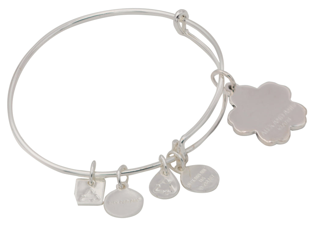 Alex and Ani Charity By Design - Forget Me Not Charm Bangle Bracelet - Shiny Silver - Expandable -