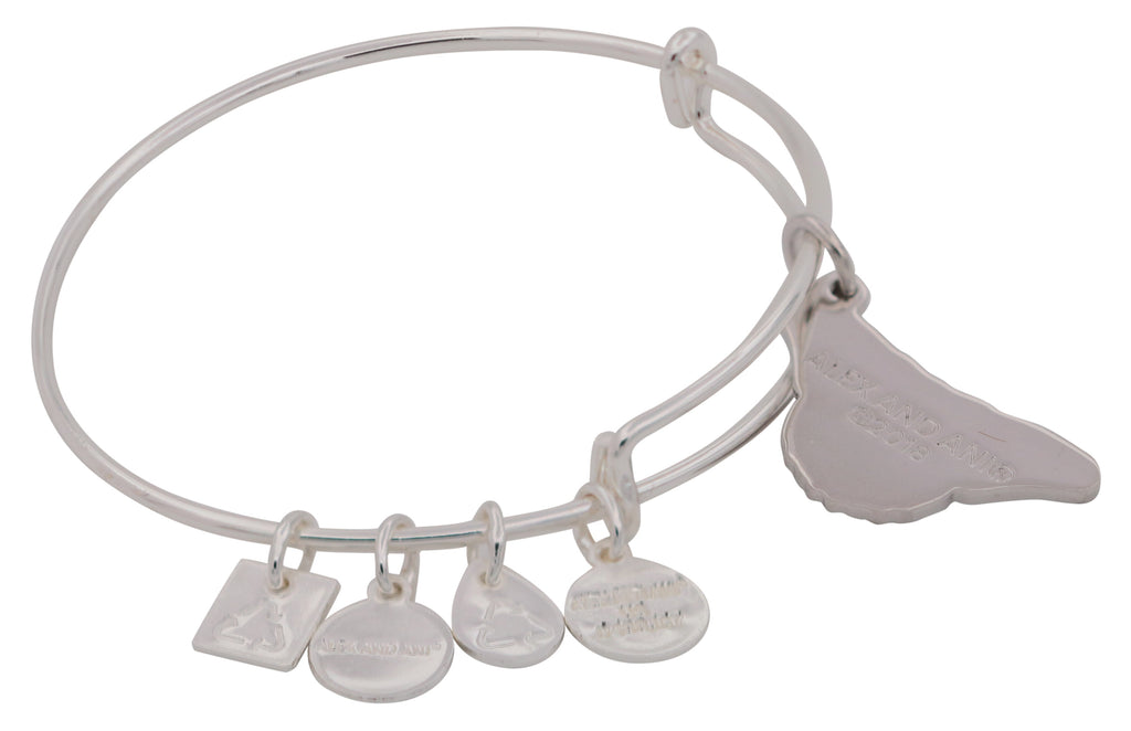 Alex and Ani Charity By Design - Monarch Butterfly Charm Bangle Bracelet - Shiny Silver - Expandable -