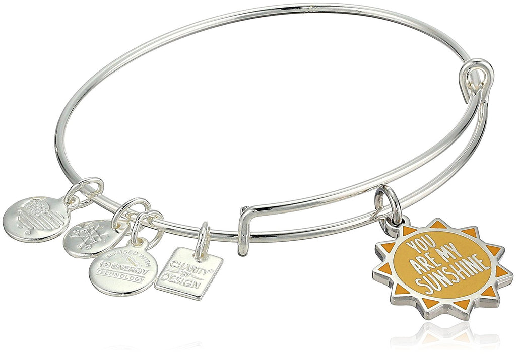 Alex and Ani Charity By Design - You Are My Sunshine Charm Bangle Bracelet - Shiny Silver - Expandable  -