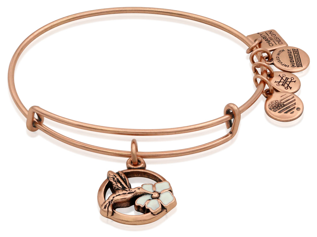 Alex and Ani Hummingbird Charm Bangle Bracelet - Rafaelian Rose Gold