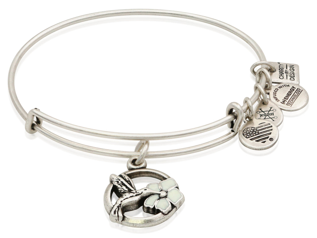 Alex and Ani Hummingbird Charm Bangle Bracelet - Rafaelian Silver
