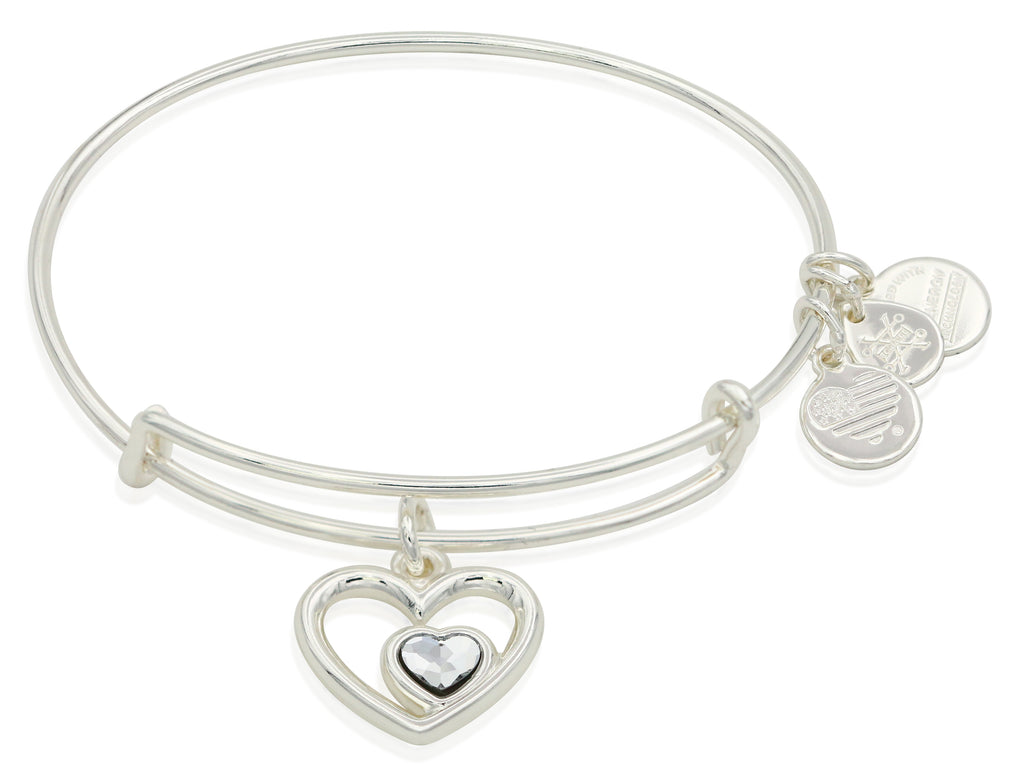 Alex and Ani Heart in Heart Charm Bangle Bracelet - Shiny Silver Finish