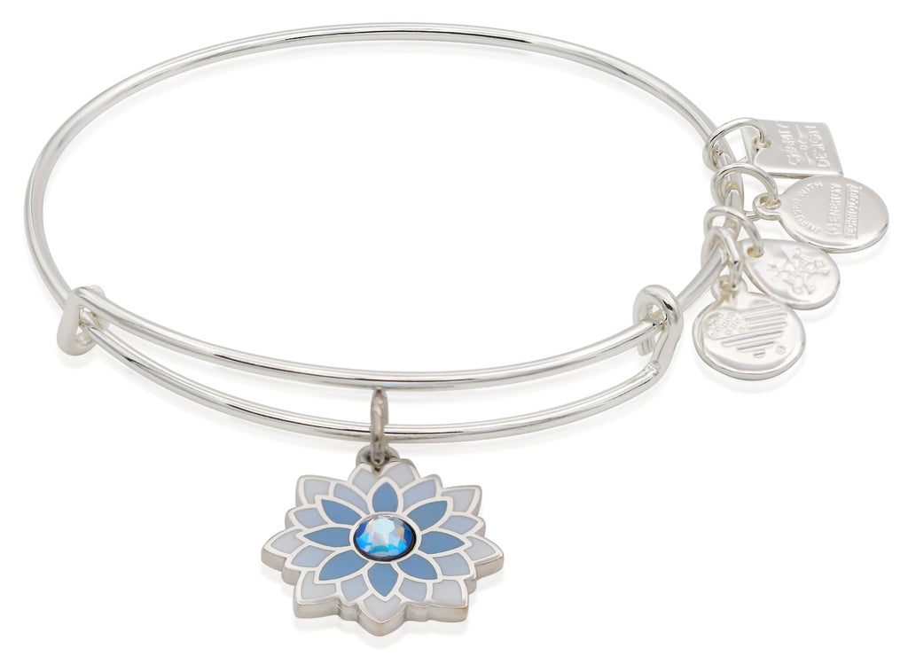 Alex and Ani Water Lily Bangle Shiny Silver