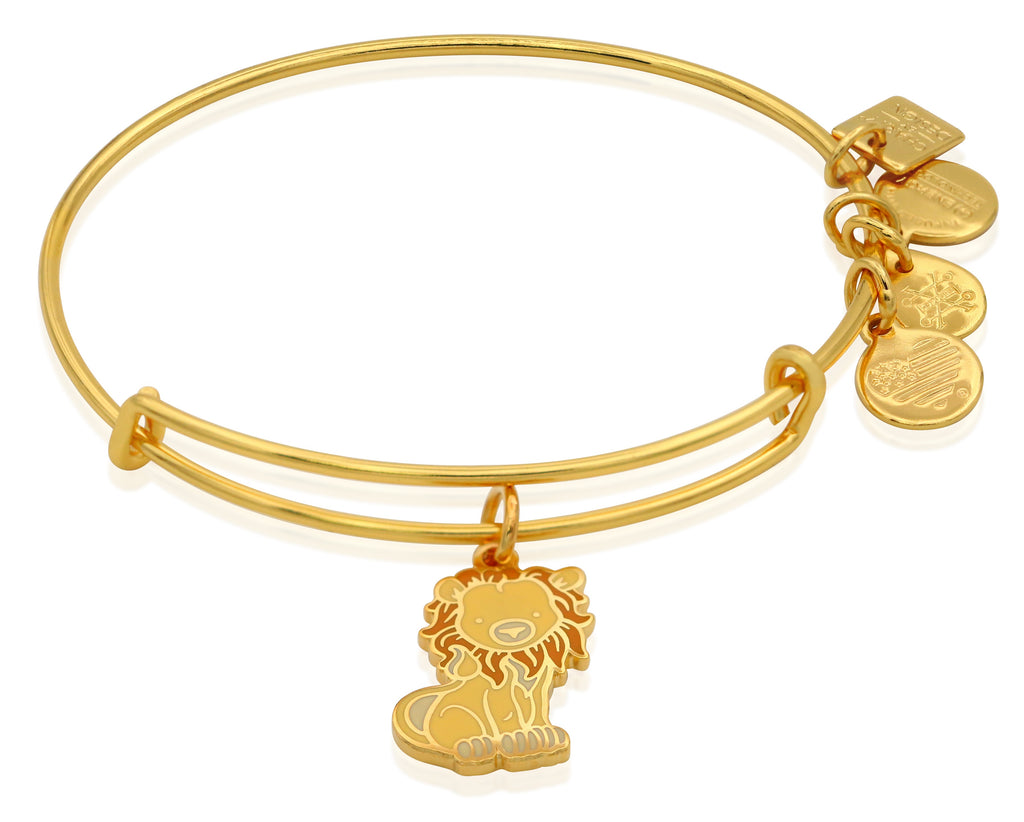 Alex and Ani Lion Charm Bangle Bracelet - Shiny Gold