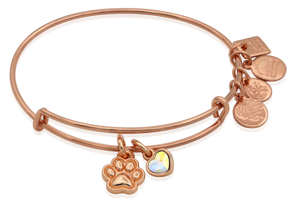 Alex and Ani Paw Print Duo Charm Bangle Bracelet - Shiny Rose Gold Finish