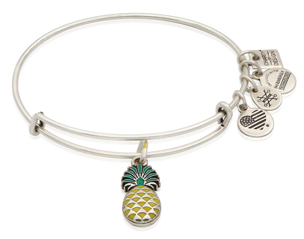 Alex and Ani Pineapple Charm Bangle Bracelet - Rafaelian Silver Finish