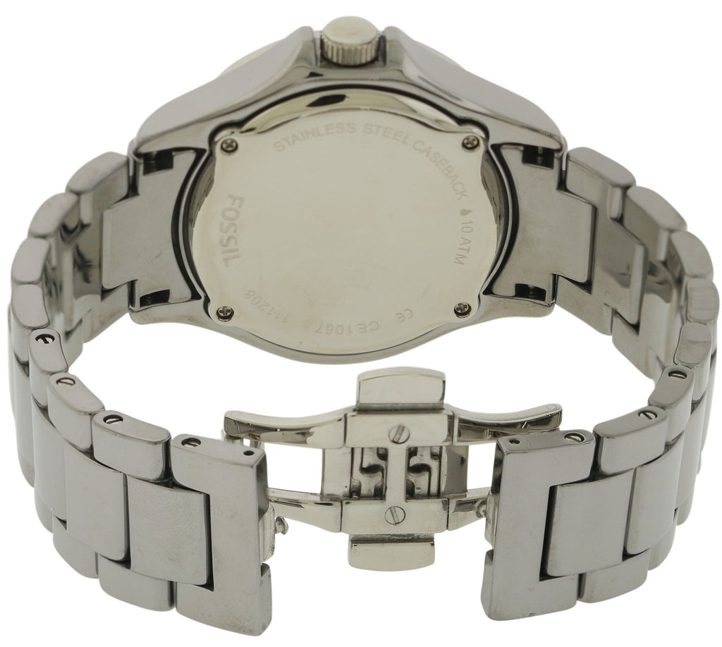 Fossil Riley Chrome Ceramic Ladies Watch CE1067