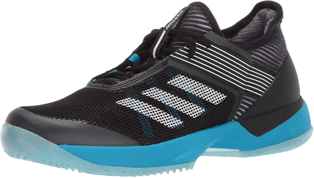 adidas Womens Ubersonic 3 Clay Court Tennis Shoes - Black/White/Shock Cyan - 8.5